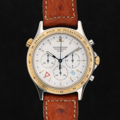 Jaeger LeCoultre Chronographe Reveil Heraion 18K Gold and Steel Wristwatch