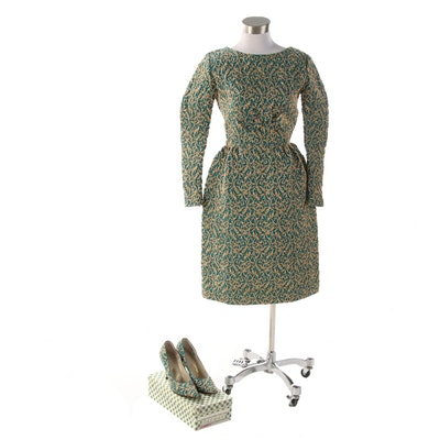 Machined Goldwork Embroidery Custom Dress with Coordinating Pumps, 1960s Vintage