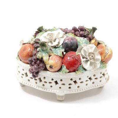 Italian Hand-Painted Porcelain Floral and Fruit Centerpiece Basket