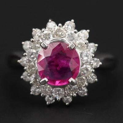 Platinum 1.23 CT Ruby and Diamond Ring