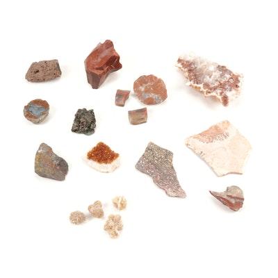 Citrine, Desert Rose Gypsum, Leopard Jasper and Other Mineral Specimens
