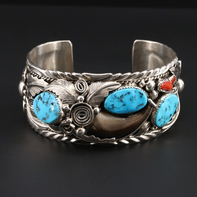 M Thomas Jr Southwestern Sterling Turquoise, Coral and Black Bear Claw Bracelet