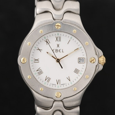 Ebel Sportwave 18K Gold and Stainless Steel Wristwatch