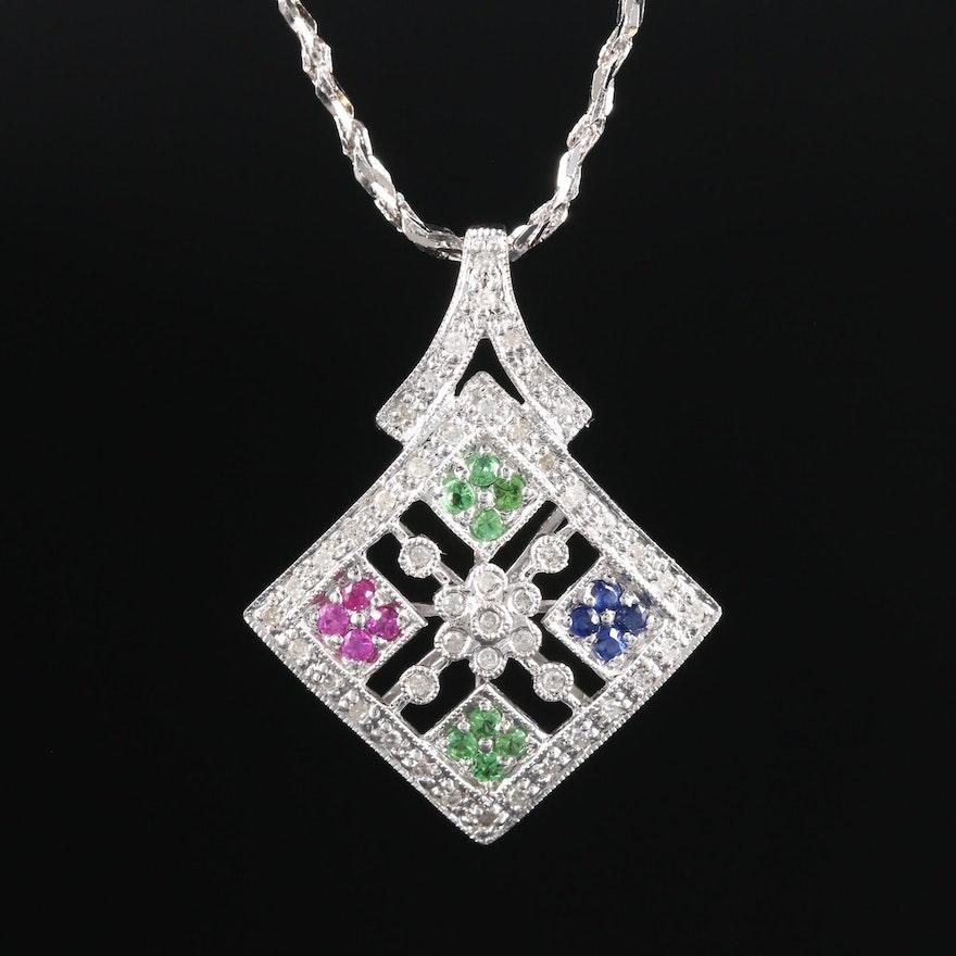 10K White Gold Diamond, Ruby, Sapphire and Tsavorite Pendant With 14K Gold Chain