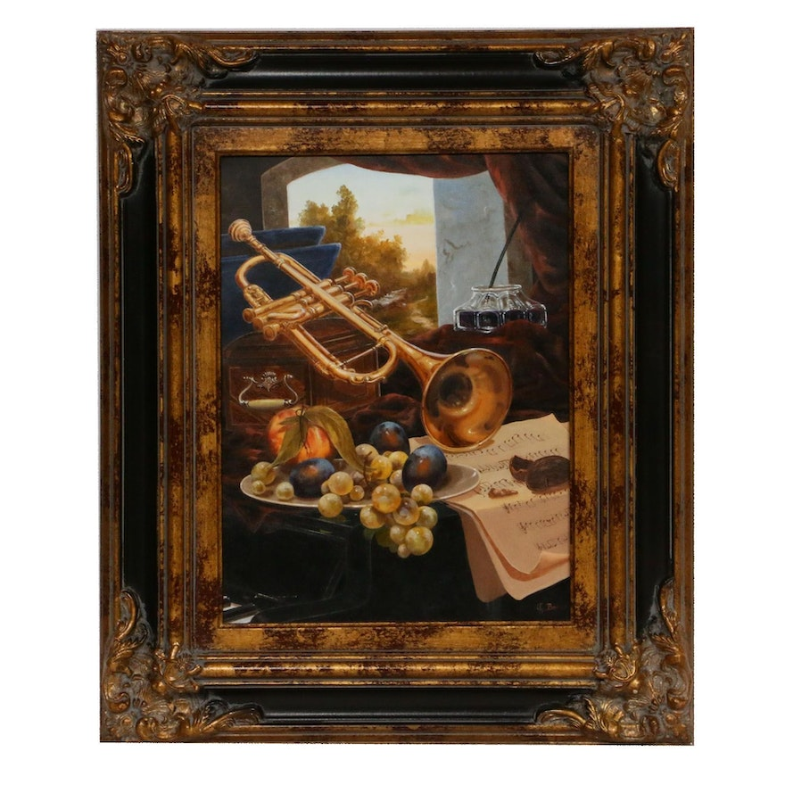 Gyula Boros Still Life with Trumpet Oil Painting