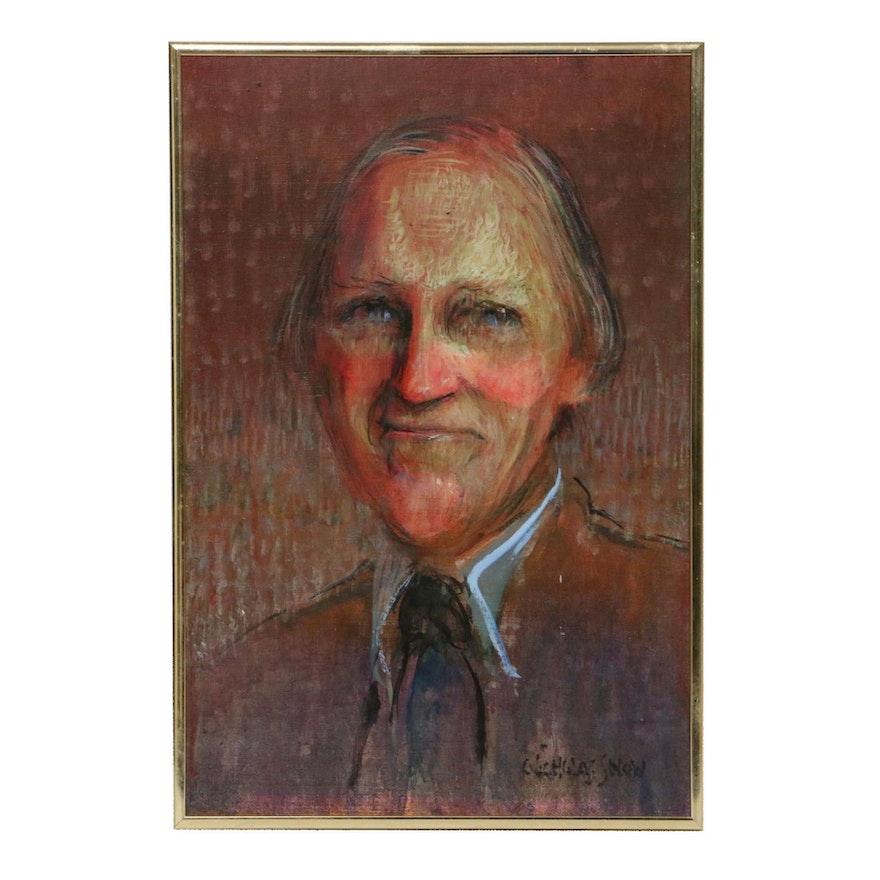 Nicholas Snow Portrait of Man Oil Painting, 20th Century