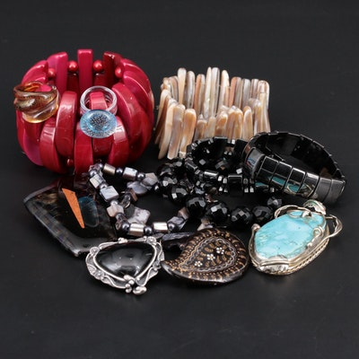 Assorted Jewelry Featuring Obsidian, Mother of Pearl and Turquoise