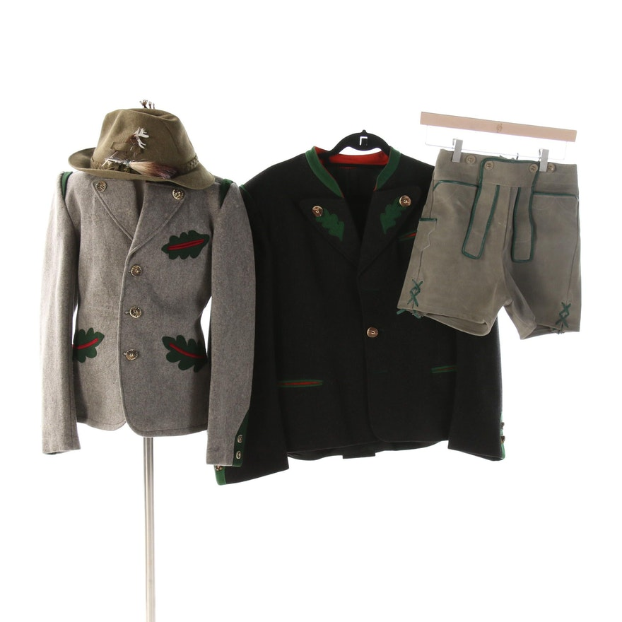 Men's and Boys' Trachten Jackets, Leather Lederhosen and Zapf Alpine Hat