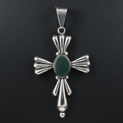 Southwestern Style Sterling Silver and Bloodstone Cross Pendant