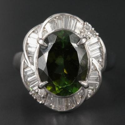 Platinum 3.93 CT Tourmaline and Diamond Ring