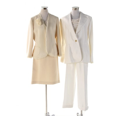 Banana Republic White Cotton Silk Pantsuit and Cream Wool Woven Skirt Suit