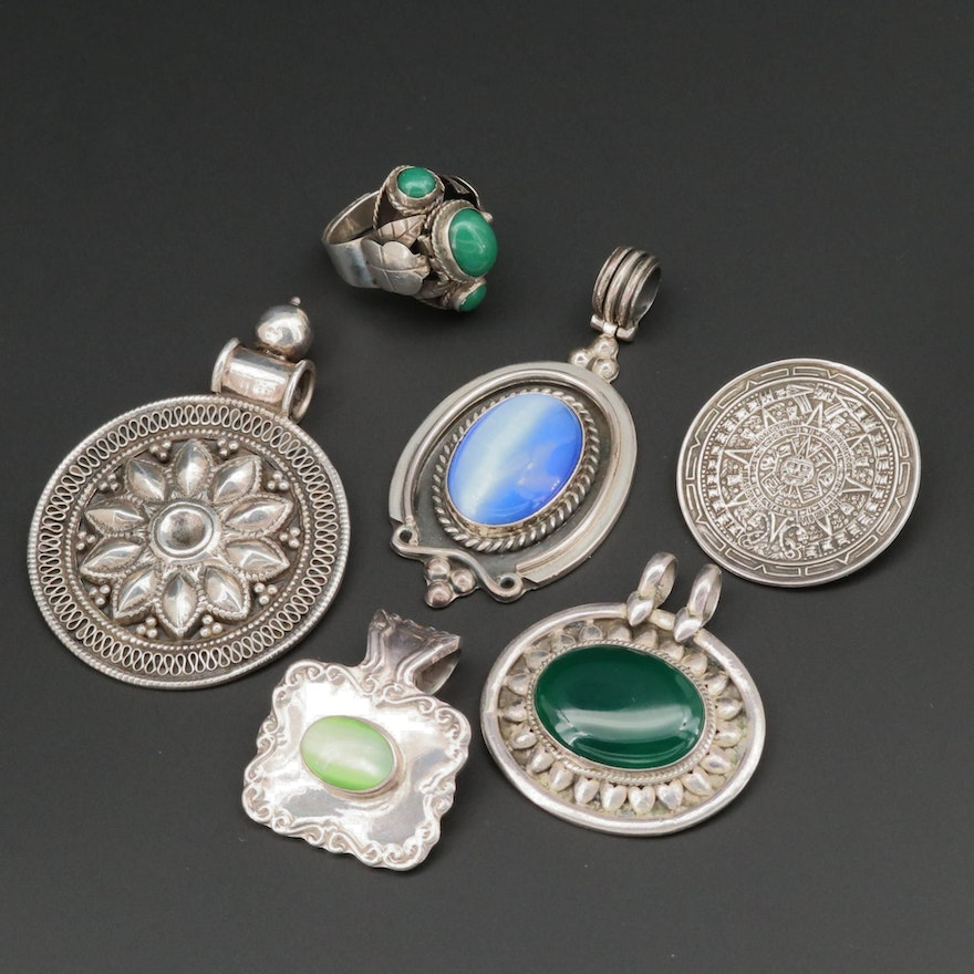 Assorted Mexican Sterling Silver Pendants, Brooch and Ring