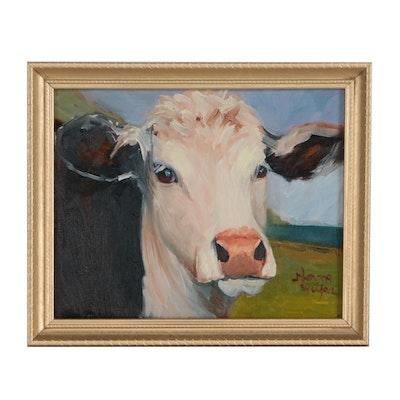 Norma Wilson Cow Portrait Oil Painting