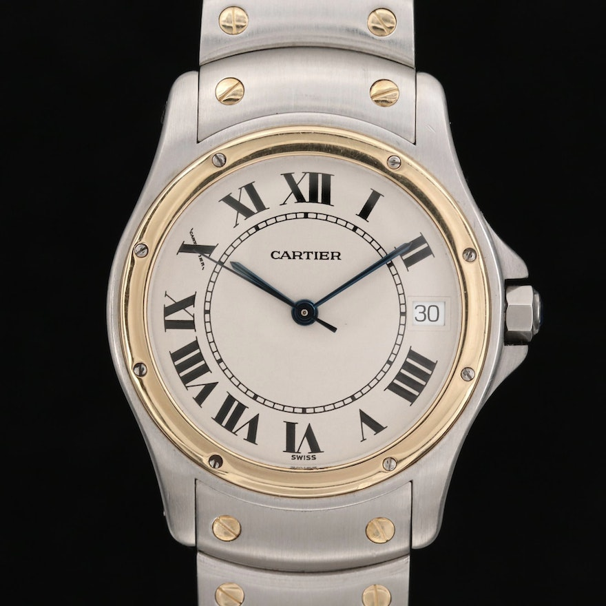 Cartier Santos Ronde 18K Gold and Stainless Steel Automatic Wristwatch