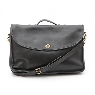 Coach Beekman Black Full-Grain Cowhide Leather Briefcase with Shoulder Strap