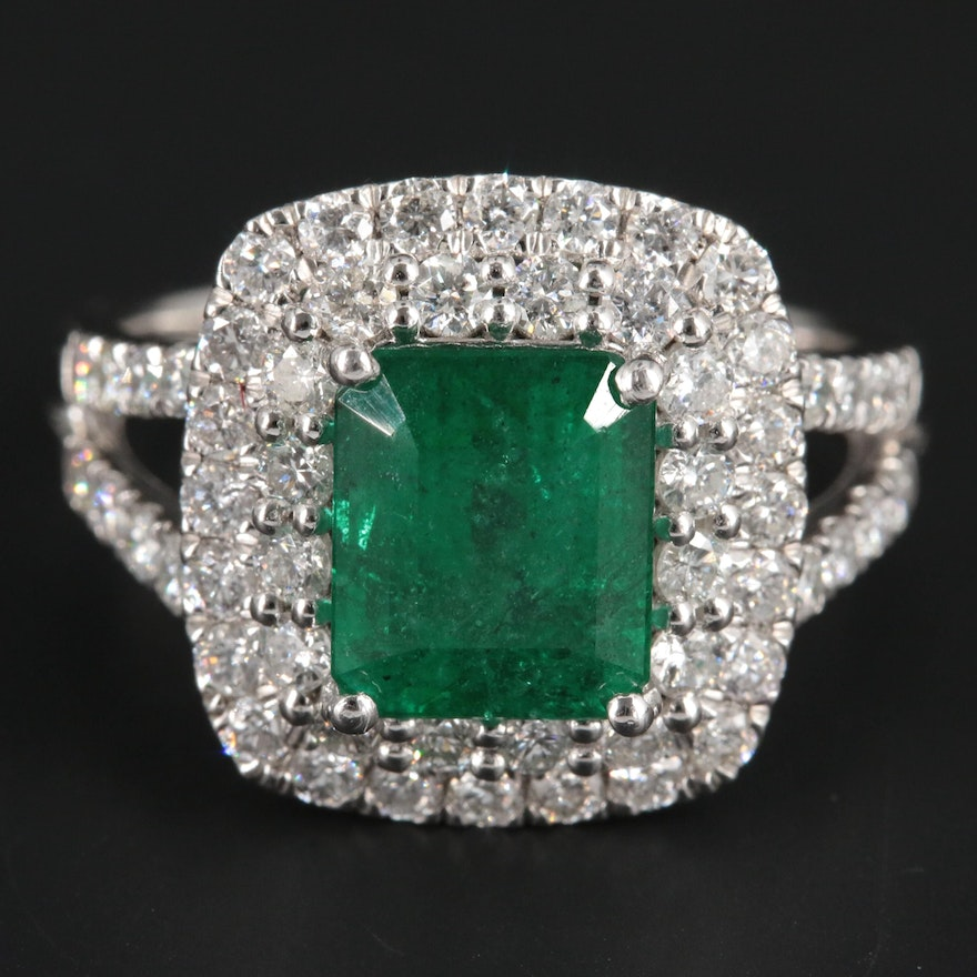 Platinum 2.65 CT Emerald and 1.16 CTW Diamond Ring