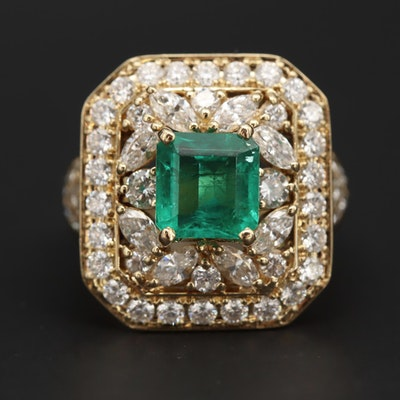 18K Yellow Gold 1.26 CT Emerald and 1.80 CTW Diamond Ring