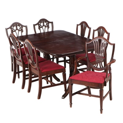 Matched Eight-Piece Federal Style Mahogany and Mahogany-Stained Dining Set