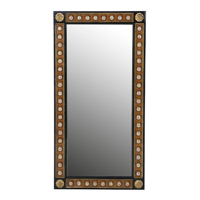 French Wood and Gesso Wall Mirror with Hand-Painted Floral Ceramic Accents