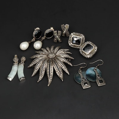 800 and Sterling Silver Jewelry Including Black Onyx, Jadeite and Abalone