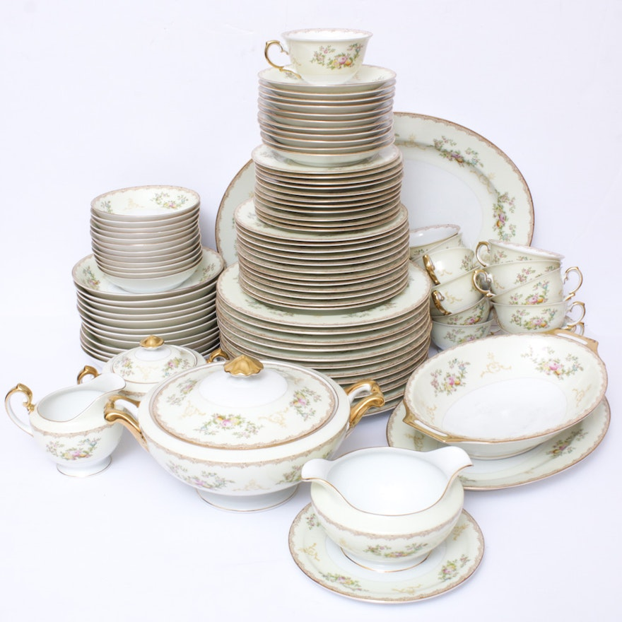 Meito Hand-Painted Porcelain Dinner and Serveware, Mid-20th Century