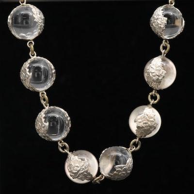 "Art Deco Sterling ""Pools of Light"" Rock Quartz Crystal Beaded Necklace"