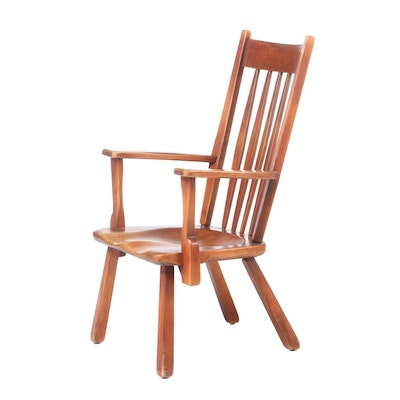 H.T. Cushman Co., Stained Hardwood Slat-Back Open Armchair, Mid-20th Century