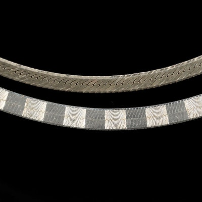 Sterling Silver Herringbone Chain Necklaces
