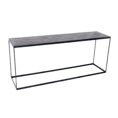 Contemporary Metal Frame Console Table with Ebonized Wood Parquetry Top