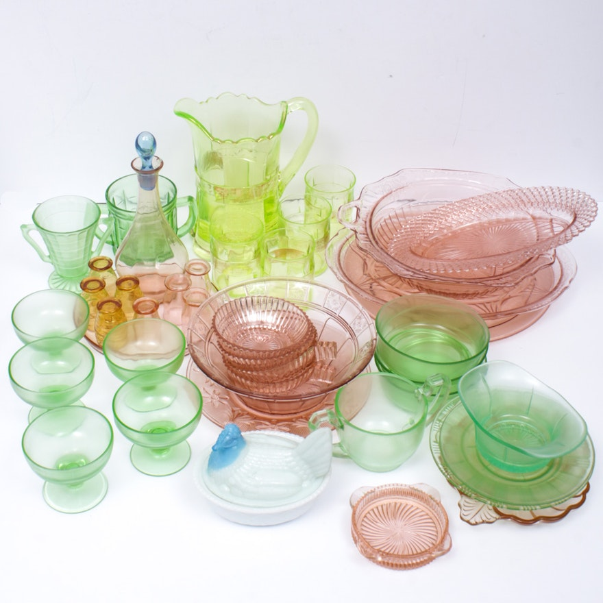 Pink, Green and Other Depression Glass Serveware, Early to Mid-20th Century