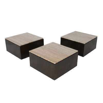 Modular Oak Veneer Rolling Side Tables with Stone Tops, Late 20th Century