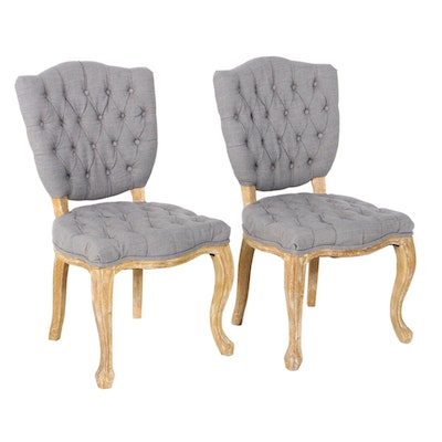 Pair of Arhaus Button-Tufted Side Chairs