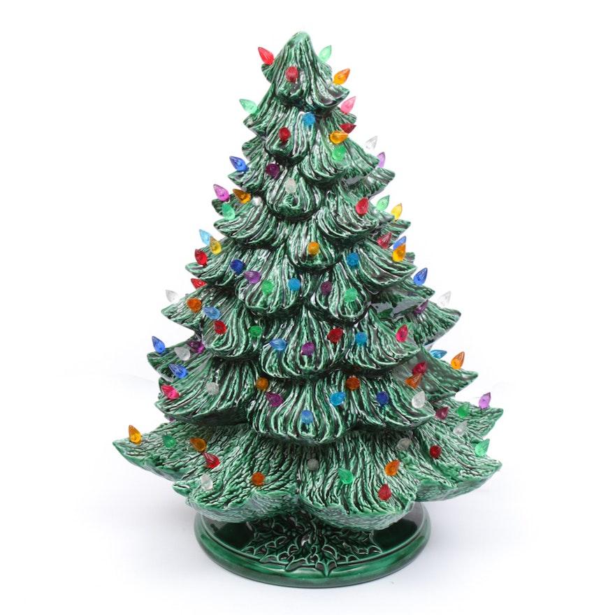 Vintage Inspired Ceramic Light-Up Christmas Tree