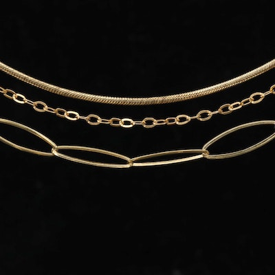 Sterling Silver Cable and Station Snake Chain Necklaces
