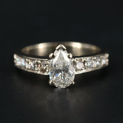 14K White Gold 1.41 CTW Diamond Ring