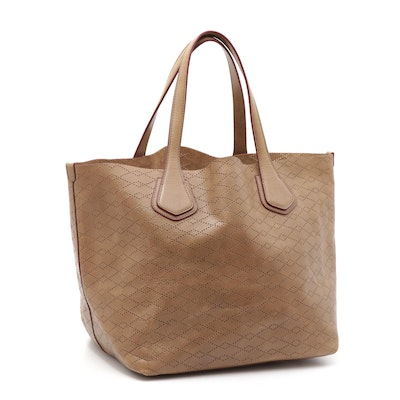 MZ Wallace New York Pierced Light Brown Leather Tote with Zippered Pouch