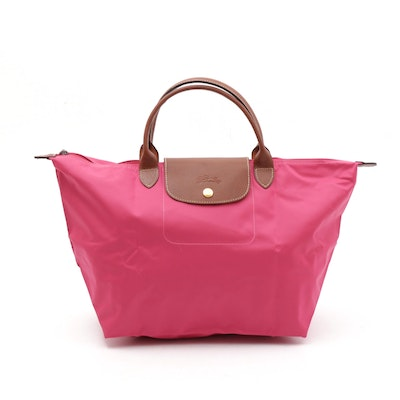 Longchamp Le Pliage Pink Candy Collapsible Nylon and Leather Tote