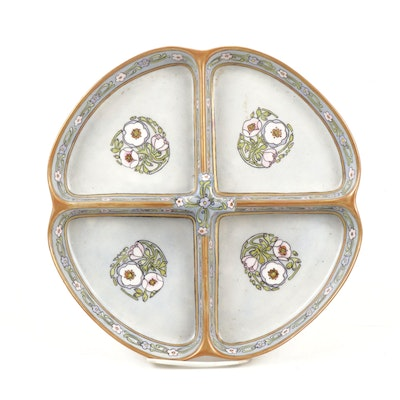 Limoges Hand-Painted Divided Porcelain Serving Tray
