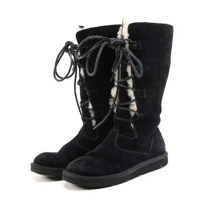 UGG Australia Whitley Tall Black Suede and Shearling Lace-Up Boots