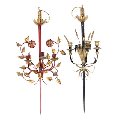 Italian Regency Style Wall Candle Sconces with Sword Motif