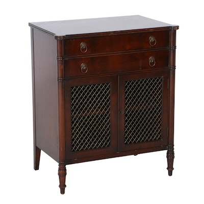 Sheraton Style Mahogany Two-Drawer Stand, Mid-20th Century