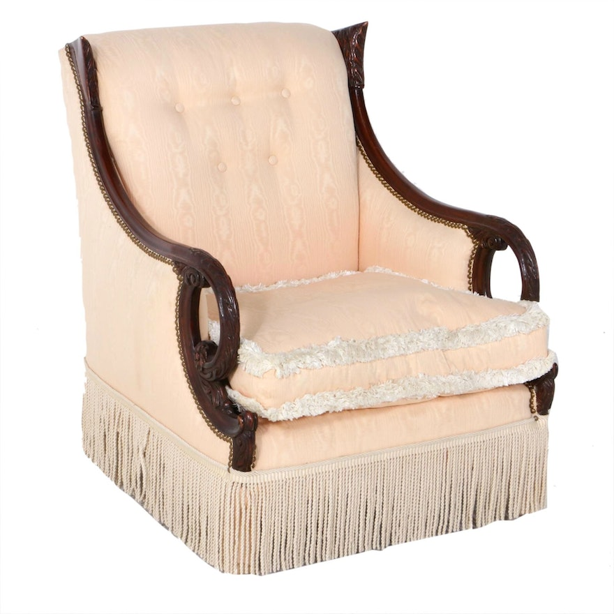 Pale Pink Upholstered Carved Wooden Frame Armchair, Mid-20th Century