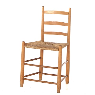 Rush Cane Side Chair, 19th Century Antique