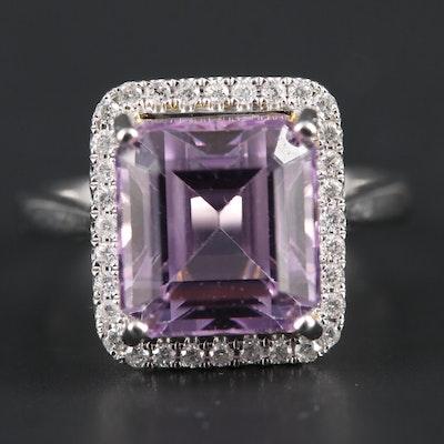 14K White Gold Kunzite and Diamond Ring