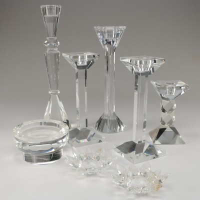 Crystal and Cut Glass Candle Holders Including Oleg Cassini and Shannon