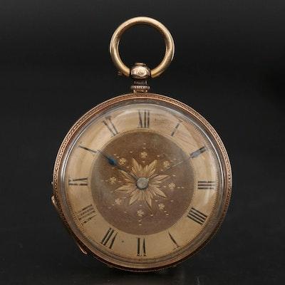 Carlick of Newbury 18K Gold Open Face Pocket Watch