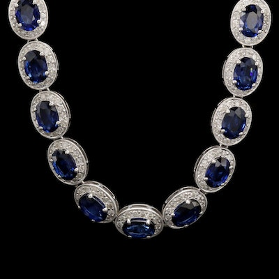 14K White Gold Blue Sapphire and 6.53 CTW Diamond Necklace