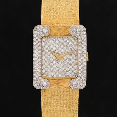 Bueche Girod 18K Gold 1.77 CTW Diamond Stem Wind Wristwatch