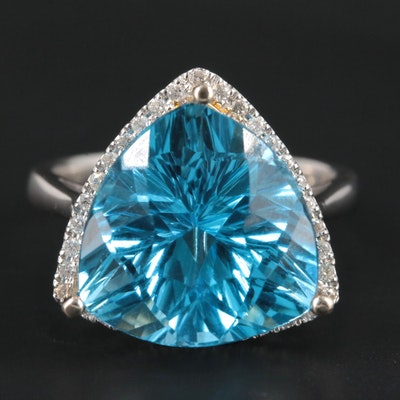14K White Gold 9.76 CT Blue Topaz and Diamond Ring with Yellow Gold Accents