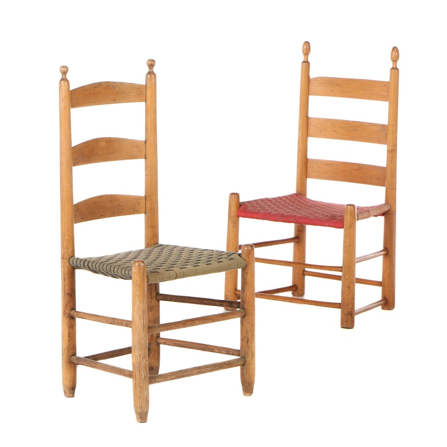 Early American Style Woven Canvas Ladder Back Side Chairs